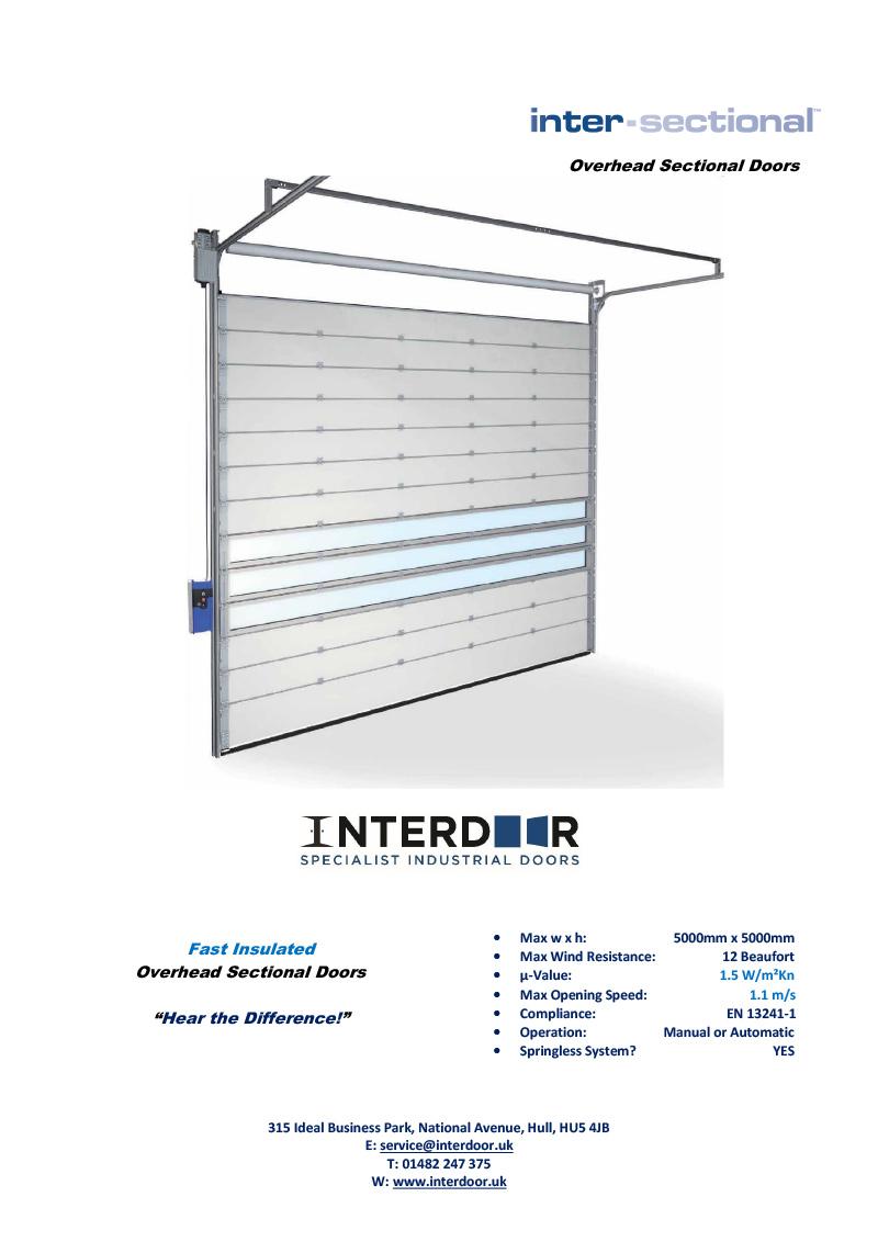 INT3 Lightening Sectional Technical Data Sheet